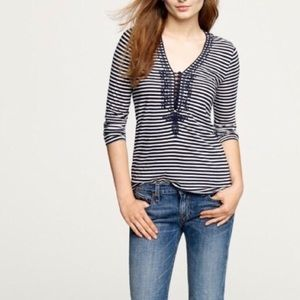 J. Crew navy and white stripe tee